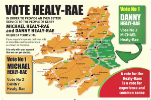The Healy Rae Map of Kerry colours with Danny's area in green and Michael's in gold.
