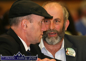 Where di it all go right? Michael Healy Rae, TD and his news-making, poll-topping brother, Danny Healy Rae at the Killarney Electoral Area count on Sunday afternoon. ©Photograph: John Reidy 25-5-2014