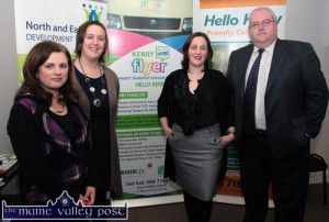 At an event at Kerry Flyer offices in Castleisland were: Mairéad O'Carroll, North Kerry IT Network; Elaine Kennedy, North Kerry Older Persons' Services; Nicola Lawless, manager Kerry Flyer and Hello Kerry and Dave Fitzgibbon, Community Development Co-ordinator with North and East Kerry Development .  ©Photograph: John Reidy 2-12-2009
