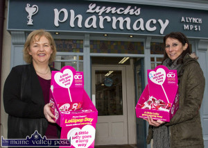Pharmacist, Aileen Lynch (left) and assistant, Bríd Devane announcing their participation in Friday's, nation-wide Lollipop Day Campaign in aid of the Osophageal Cancer Fund on Friday. ©Photograph: John Reidy
