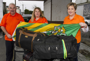 Ready to Go: Bags packed to capacity and ready for the off. Charlie Farrelly, Hannah Curtin and Martina O'Mahony on the morning of their departure from Castleisland enroute to Mombasa with the Ray of Sunshine Foundation. ©Photograph: John Reidy  6-2-2016