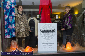 The Mad Ones co-founders, Kate McSweeney (left) and tara Walmsley doing a spot of manequinning as they prepare for their Main Street Pop-Up opening tomorrow from 12noon to 4-30pm. ©Photograph: John Reidy