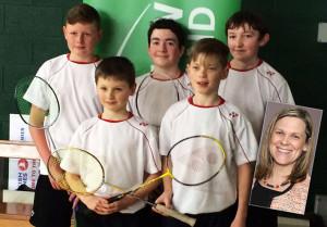 Castleisland Boys' National School All-Ireland silver medal winning badminton team: of: Peter Burke, Micheál O'Shea, Patrick Roche, Jack McGovern and Ayrton Burke with coachand teacher Niamh Burkeinset.