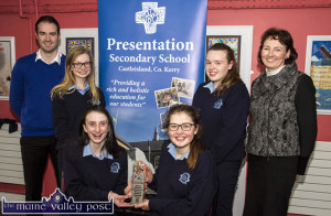 Back in March after their County Enterprise win: Students, front: Lauren Butler (left) and Grace Daly with Pierce Dargan, teacher; Siobhán Brosnan and Cáit O'Mahony and Principal Kateriona Broderick. ©Photograph:  John Reidy