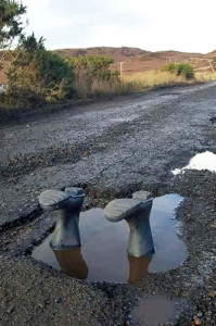 A Potholing parody on the roads of Kerry. Photograph: Charlie Farrelly