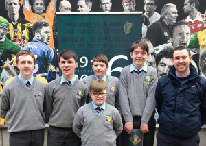 The Student Council Body from St. Patrick's Secondary School, Castleisland who attended the National Flag Presentation Ceremony for Post -Primary Schools in Croke Park on Monday.  From left:  Paddy Flynn, Art O'Mahony, Darren O'Donovan, Ronnie Mallon, (front) and Ethan Reidy with Owen Hayes, teacher.