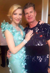 Edward 'Eddie' O'Sullivan pictured with Cate Blanchett and the dress which had fashion writers drooling at the Oscars.
