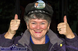 Mary Devane- Wilson from Dingle was another enthusiastic, cap wearing member of the Healy Rae fanclub at Saturday's General Election 2016 count in Killarney. ©Photograph: John Reidy