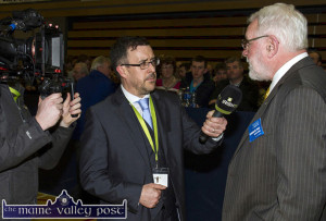 Sinn Féin TD, Martin Ferris speaking to John Drommey, Irish TV at last month's General Election 2016 count in Killarney. ©Photograph: John Reidy