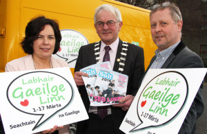Launching the Seachtain na Gaeilge programme were: Moira Murrell,??? Pat McCarthy, mayor of Kerry and Roibárd Ó hEartáin
