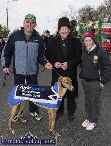 Clonmel hero, Coolavanny Bingo with Eddie and Pat Mahony and Noel Browne leading this year's St. Patrick's Day Parade in Castleisland. ©Photograph: John Reidy