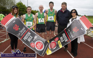 An Riocht AC manager, Kate McSweeney (left) and Teresa Walker, Lee Strand marketing manager with William Dennehy, An Riocht AC and the first three athletes : Seán O'Sullivan (left) (3rd) Dónal O'Callaghan (2nd) and winner, Tim O'Connor after the 2015 An Riocht AC / Lee Strand Kingdom Come 10 Miler and 5K road race in Castleisland. ©Photograph: John Reidy
