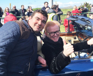 Kerry TD, Brendan Griffin, pictured with BBC Top Gear presenter, Chris Evans during filming in Gallarus on Saturday.