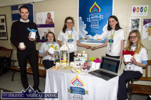 Teacher and mentor, Pierce Dargan pictured with the Presentation students and their highly co-ordinated Candle Corner display unit. Included are: Siobhán Brosnan, Grace Daly, Lauren Butler and Cáit O'Mahony. ©Photograph: John Reidy