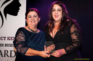 Young Entrepreneur of the Year award winner, Rosaleen Higgins of Nana Bea's Cafe, Castleisland (right) pictured with Margaret Brick of Connect Kerry at the Connect Kerry / Lee Strand Women in Business Awards at the Ballyroe Heights Hotel on Friday night. www.leephotography.ie