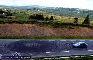 Cop Circles: The badly tyre marked road between Castleisland and Abbeyfeale near Knocknagoshel.  ©Photograph: John Reidy