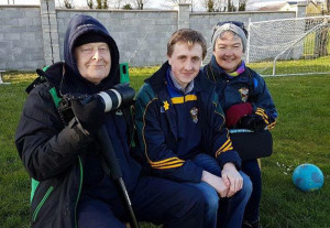 Tom O'Donoghue, Paddy Flynn and Nora Fealey enjoying the Cordal V Ballymac junior qualifier game at the weekend.