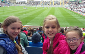 Rebecca Reidy, Miriam O'Connell and Zara O'Connor enjoying the Croke Park experience on Sunday.
