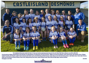 The Castleisland Desmonds Ladies GAA Club U-14 team and mentors preparing to play their part in the John West Féile Peile na nÓg from June 24th to 26th 2016.  Front from left: Ava Regan, Sinead Murphy, Ciara McCarthy, Ava Healy-Brennan, Ava Fitzmaurice, and Leah O'Connell.  Middle row from left: Pat Sheehan, mentor; Marnie Horan, Alex Sheehan, Emma O'Regan, Sadhbh Prendiville, Áine Sheehan, captain; Gemma Kearney, Ruth Cahill, Lily Cox, Paris McCarthy and Niall O'Connor, mentor. Back row from left: Dan Kearney, trainer;  Aoife Walsh, Grace Curtin, Katie O'Connor, Aoife Lane, Emma Browne, Shauna Kissane, Grace Curtin, Aisling Kearney, Dana Horan, Jessie O'Doherty-Cahill, Chloe Cahill and Eddy Regan, trainer/co-ordinator. ©Photograph: John Reidy 25-4-2016