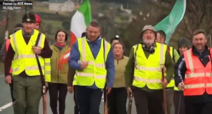 A screen shot of the Dingle to Tralee march in commemoration of the historic 1916 event.
