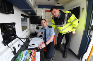 Gardaí in the mobile, Incident Command Unit  at the Rally of the Lakes  in Killarney this weekend from Friday 29th to Sunday, May 1st  Photograph: Domnick Walsh ©  Eye Focus LTD