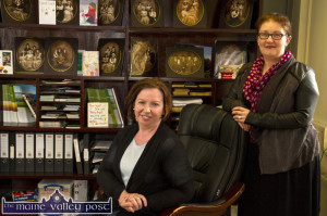Irish Host Family Director, Antoinette Butler (left) and Secretary, Marita O'Sullivan pictured in their Castleisland town-centre office in the Island Business Centre. ©Photograph: John Reidy
