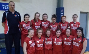 The St. Mary's Basketball Club U-14 Girls and coach Maurice Casey. Front from left: Ellen Collins, Sadhbh Prendiville, Aoife Dunlea, Emma O Regan,Gemma Kearney and Áine Sheehan. Back:  Maurice Casey, Jane Lawlor, Grainne Walsh, Katie O'Connor, Abbie Brosnan, Aoife Kerins and Paris McCarthy.