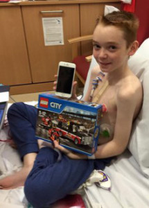 Aaron O'Leary in hospital in the UK last December.