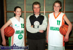 In late January 2003, John Enright introduced two new representatives from St. Joseph's Presentation Girls' Secondary School to the International basketball scene.  On left is Eileen O'Connor who was selected on the Irish Junior Womens' team and Jennifer O'Connor was called up to join the Irish School Girls Cadets for their Internationals at that time. ©Photograph: John Reidy 28/01/2003