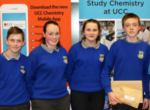 Castleisland Community College students receiving presentation at UCC Department of Chemistry from left:  Liam O'Sullivan, Siobhan O'Donoghue, Julienne Murphy and Cian Walsh Murphy.
