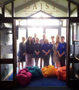 Principal Carmel Kelly and a group at the opening of the Daisy Room at Castleisland Community College.
