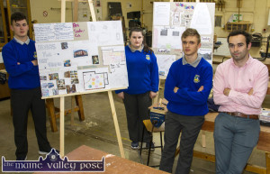 Getting their plans together for Thursday night's invitation to view the students' ideas and plans for facilities in Castleisland. With teacher, Aidan Joy are: Ben Hayes, Chloe O'Sullivan and David Knurowski. ©Photograph: John Reidy