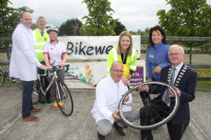 Launching the Cycle to Work Challenge as part of National Bike Week on Monday, back l-r: Eoghan Barry (Astellas), Donal Hunt (ITT), Gina Halliday (Astellas), front l-r: Micheál Ó Coileáin (KCC), Anna-Meria Costello (KCC), Córa Carrigg (Kerry Recreation and Sports Partnership), Cllr Pat McCarthy (Cathaoirleach, Kerry County Council).