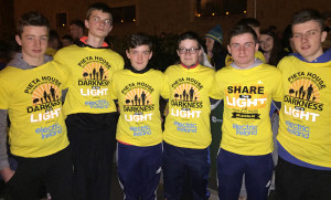 Students from St. Patrick's Secondary School who took part in the Pieta House Darkness into Light 5k. From left: Egan Brosnan, Diarmuid Mitchell, Kevin Coyne,  Darragh Brosnan, Matthew Keane, Michael Daly.
