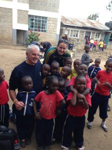 Eddie and Triona with a welcoming party in Embulbul.