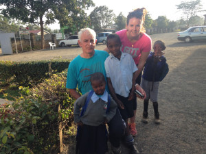 Eddie and Triona Sheehy with some of their many friends in Embulbul, Kenya.