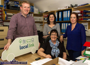Alan O'Connell, Elaine O'Donoghue, Esther Murphy and Carmel Walsh breaking good news for rural Kerry with the 'Local Link' launch at the ???? offices at Scartaglin Heritage Centre on Wednesday afternoon. ©Photograph: John Reidy 18-6-2016