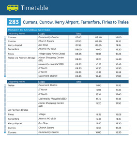 The timetable for the new Local Link Kerry service. Click on the image to enlarge.