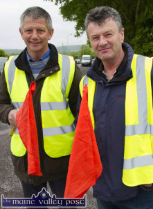 Cordal cousins, Mike (left) and Jimmy Kearney were on stewarding duty  at the start of last year's  St. Kieran's GAA Club annual Cycle Tour in Castleisland. ©Photograph: John Reidy
