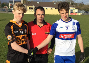 U-16 Final: Rival captains: Gearóid Sheehan, Austin Stacks (left) and referee Paul Hayes with Luka Brosnan, Desmonds.