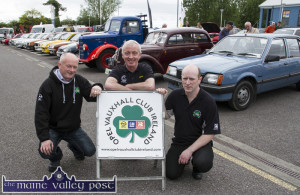 Opel Vauxhall Club Ireland Southern representative, Denis Murphy, Macroom (left) pictured with Paul Horan, Ahern's and Ted O'Connell, club PRO at Ahern's annual vintage day in Castleisland on Saturday. ©Photograph: John Reidy