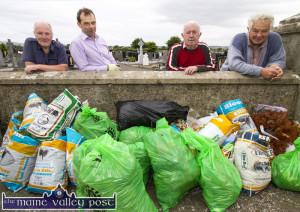 Donal Nelligan, Jack Shanahan, David Prendiville and Denis Devane looking over an evening's clean-up results at Maher's side of Kilbannivane. Work will continue on Pembroke's side on this Tuesday evening at ???? pm.  ©Photograph: John Reidy