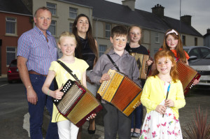Members of the Brosna Comhaltas CCE pictured at the launch of the 2016 Con Curtin Music Festival which takes place in Brosna on June 24th, 25th & 26th. F l-r: Aoife O'Carroll, Cormac Murphy, Amy O'Sullivan. B l-r: Gerard Curtin and Evelyn Healy (Con Curtin committee) with Nicole and Emma O'Carroll. Photograph: John Morris