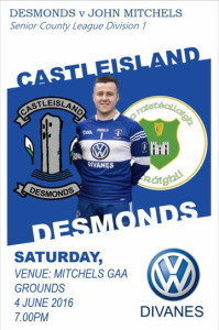 The poster for this evening's game between Desmonds and John Mitchells featuring Stephen Bartlett sporting the new Divanes Castleisland strip.