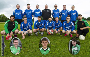 Pictured at a training session on Tuesday night are members of the Castleisland AFC B team which will play Killarney Celtic in the Greyhound Bar KO Cup Final in Mounthawk Park, Tralee on Saturday evening at 7.15pm. Included are front from left: Garry O'Sullivan, Martin 'Mazza' Moran, Niall Casey, Ray Huggard, captain; Michael Cahill, Daniel Downey and Dan Maunsell, manager. Back from left: John Feehan, Neil O'Sullivan, Mikey Maunsell, Kevin Moran, Jonathan Downey, Stephen McCarthy and Timothy Walsh. Insets from left: Pa O'Rourke, Evan O'Brien and Seán Óg Ó Ciardubháin. ©Photograph: John Reidy