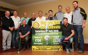 Members of Currow GAA Club launching their golf classic plans at The Crown. Front from left: Connie Fitzgerald and Noel Crowley. Back from left: Johnny Scanlon, John Lyons, Jack Ahern, John Fleming, Tom O'Callaghan, Paul Griffin, Daniel O'Shea,  Kieran Scanlon and Paudie Collins. Photograph by Tom O'Donoghue.