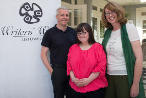 Mary Neligan, Castleisland, who won a prize in the Creative Writing Competition for Adults with Special Needs. Mary is pictured with her tutors at St. John of God's, Oileán Beo, Castleisland,  Sean Hanly and Lisa Cronin. Photograph: Ann McNamee