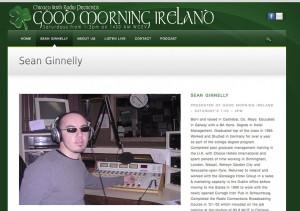 Seán Ginnelly - the Co. Mayo born presenter of Good Morning Ireland on Chicago Irish Radio.