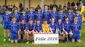 Ballymacelligott U-14 A team who participated in the recent Féile and were unlucky not to qualify for the quarter finals of the Division 2 Cup. They are currently participating in the Central Region Division 1.