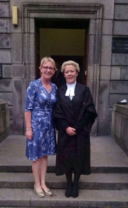 Barrister Mairead O'Flynn pictured on her big day on Thursday with sister, Dr. Anne O'Flynn-Moran.